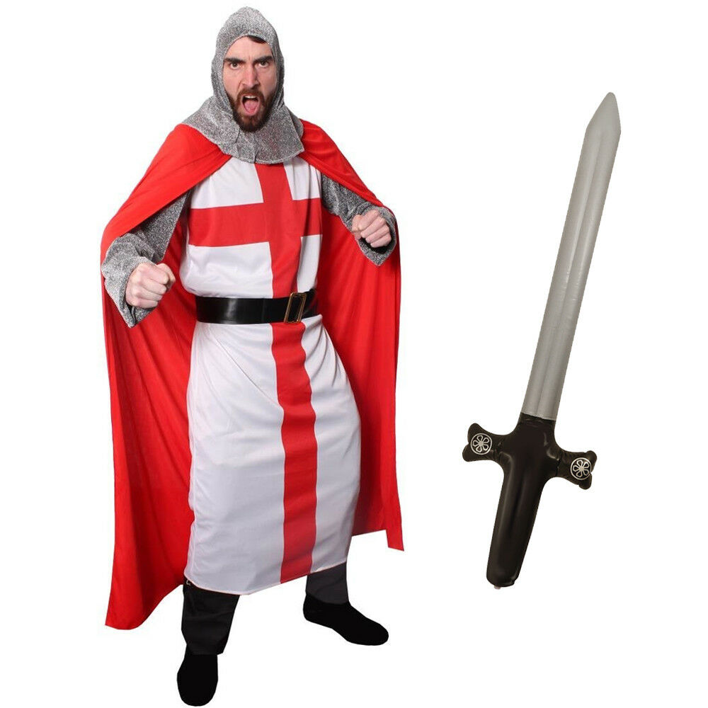 Mens Knight Costume Adult St George Fancy Dress Medieval