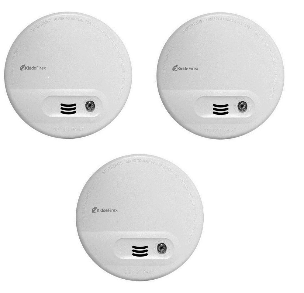 3 x kidde kf10 firex smoke alarm mains battery back up ionisation ebay. Black Bedroom Furniture Sets. Home Design Ideas