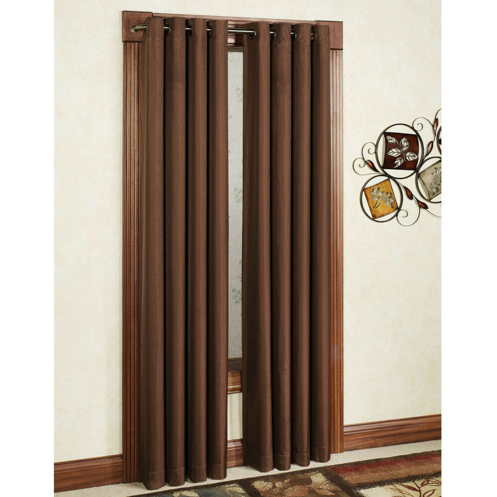 Two heavy thick panels microfiber blackout brown grommet for Where to buy curtain panels