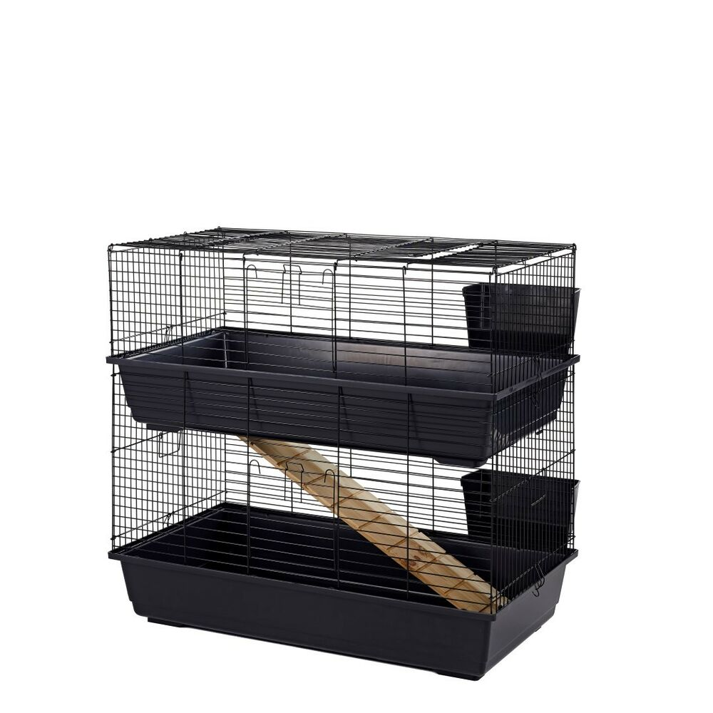 Rabbit guinea pig indoor cage hutch 80cm 100cm 80 100 for Guinea pig cages for two