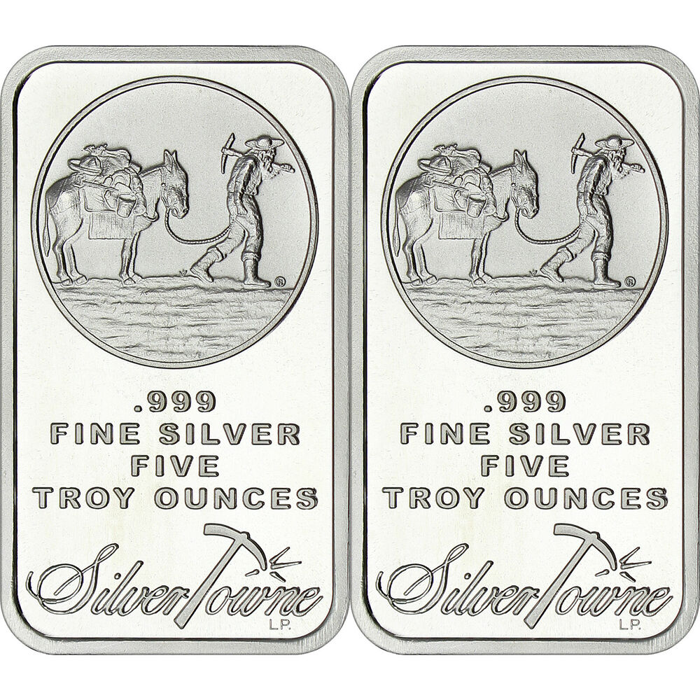 Silvertowne Logo 5oz 999 Fine Silver Bars Lot Of 2 Ebay