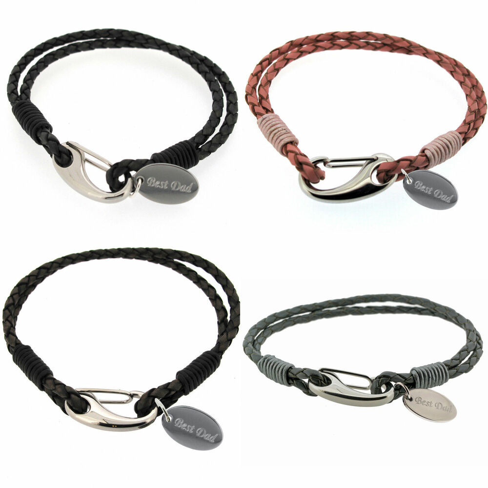 Leather Wrap Bracelet With Charms: Mens Womens Personalised Leather Wrap Bracelet & Custom