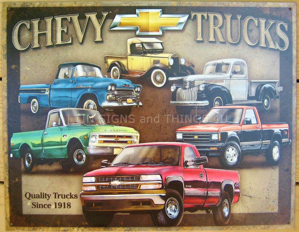 Chevy Tribute TIN SIGN Antique Vtg Pickup Chevrolet Metal