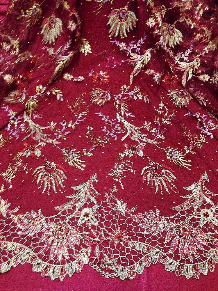 PURPLE PINK FLORAL EMBROIDERED SEQUINS NUDE MESH FABRIC
