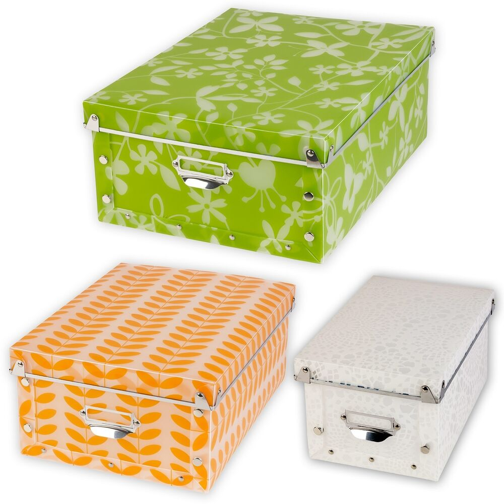 Decorative, collapsible, and stackable storage box with lid, reinforced metal corners, and scratch resistant fabric bottom The boxes pop open in seconds and collapses down for easy portability and storage – They won't get in the way when they aren't needed.