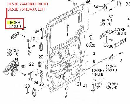 2006 Kia Sedona Drivers Door Parts Diagram