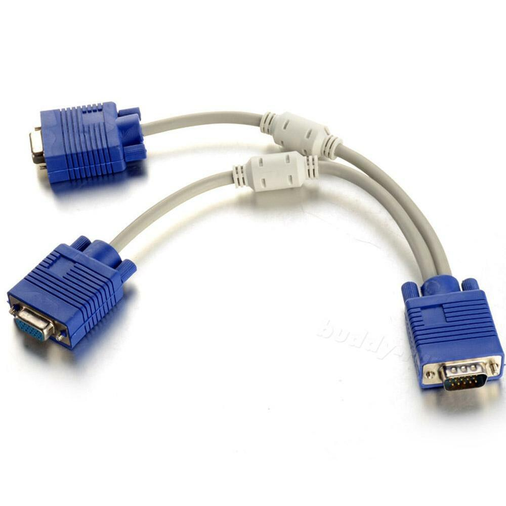 Computer Wire Splitter : Inch male to dual female pc vga hd monitor y