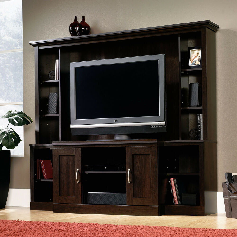 New Sauder Cinnamon Cherry Entertainment Center Tv Stand