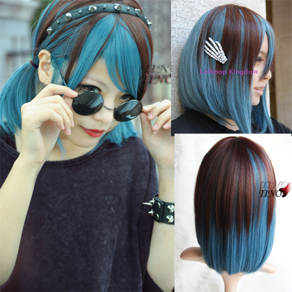 Cute New LOLITA Brown+Blue Color Cosplay Curly Short ...