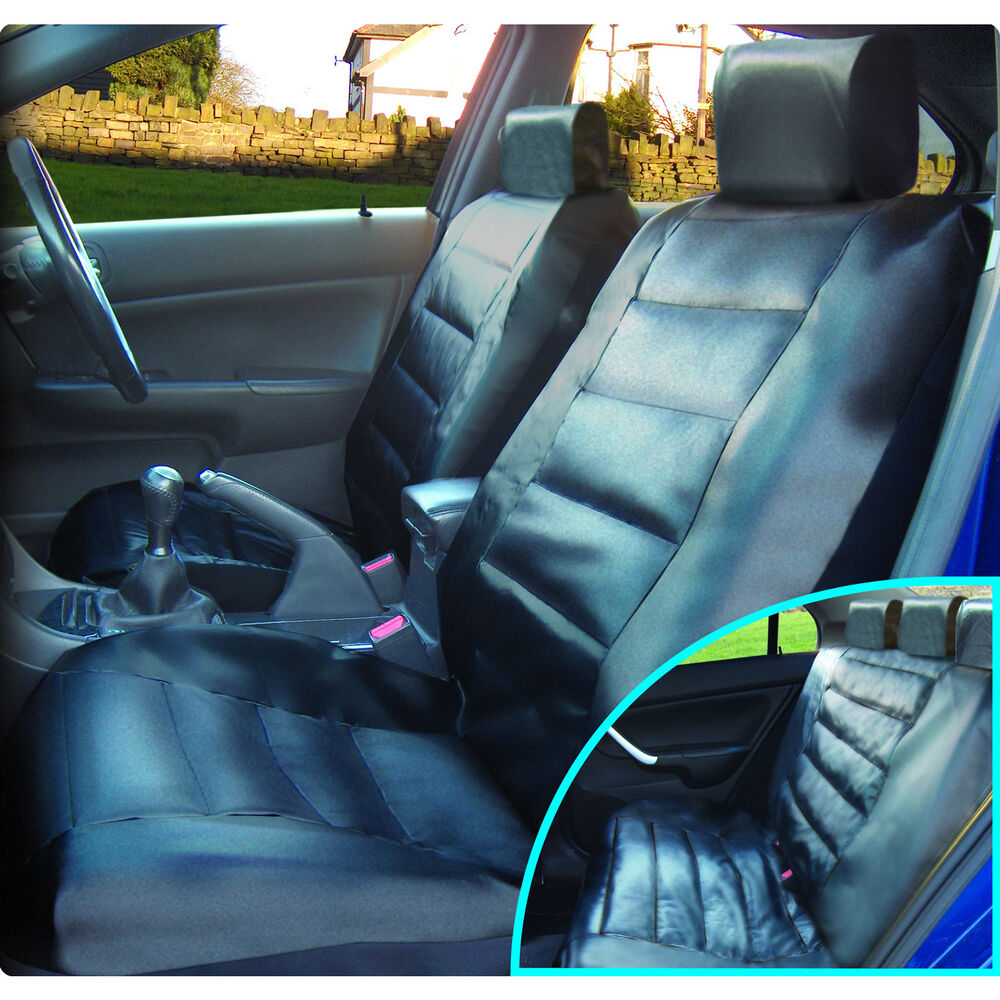luxury black leather look front rear car seat covers set cover vehicle seats ebay. Black Bedroom Furniture Sets. Home Design Ideas