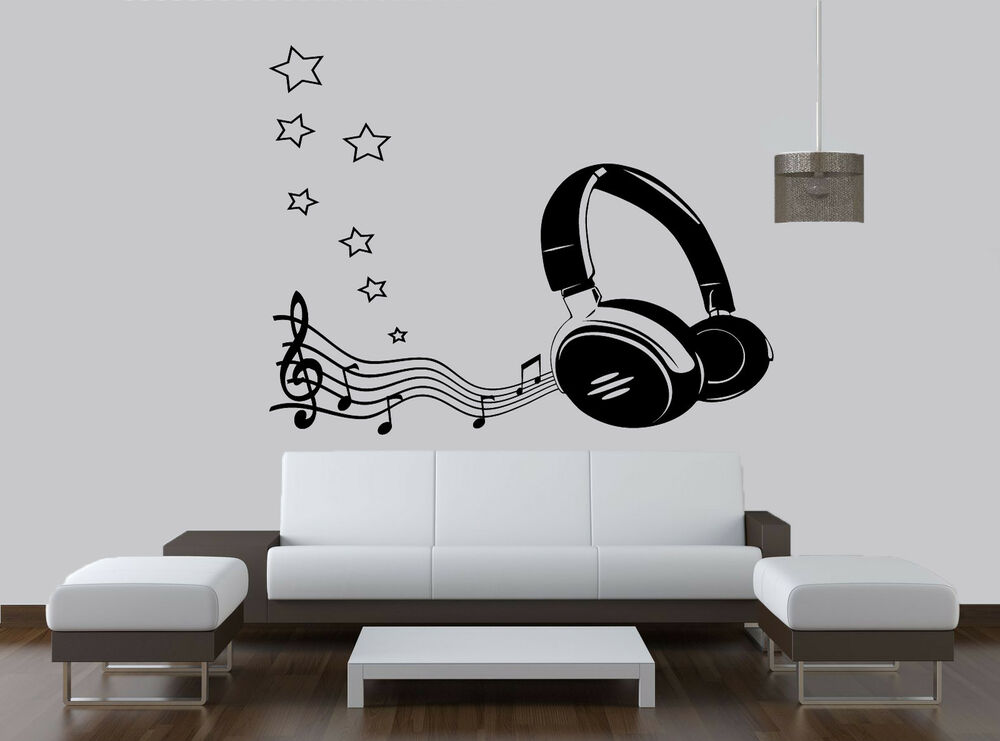 Headphones With Music Notes Stars Wall Art Vinyl Sticker Decal Any Room Ebay