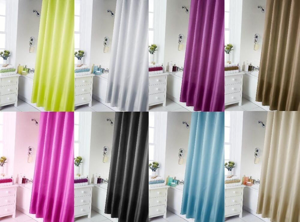 Shower Curtains: POLYESTER FABRIC PLAIN READY MADE BATHROOM SHOWER CURTAINS