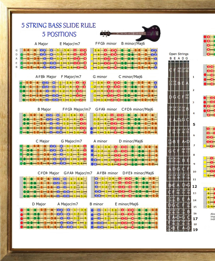 5 string bass slide rule poster 5 position chart every note in any key ebay. Black Bedroom Furniture Sets. Home Design Ideas