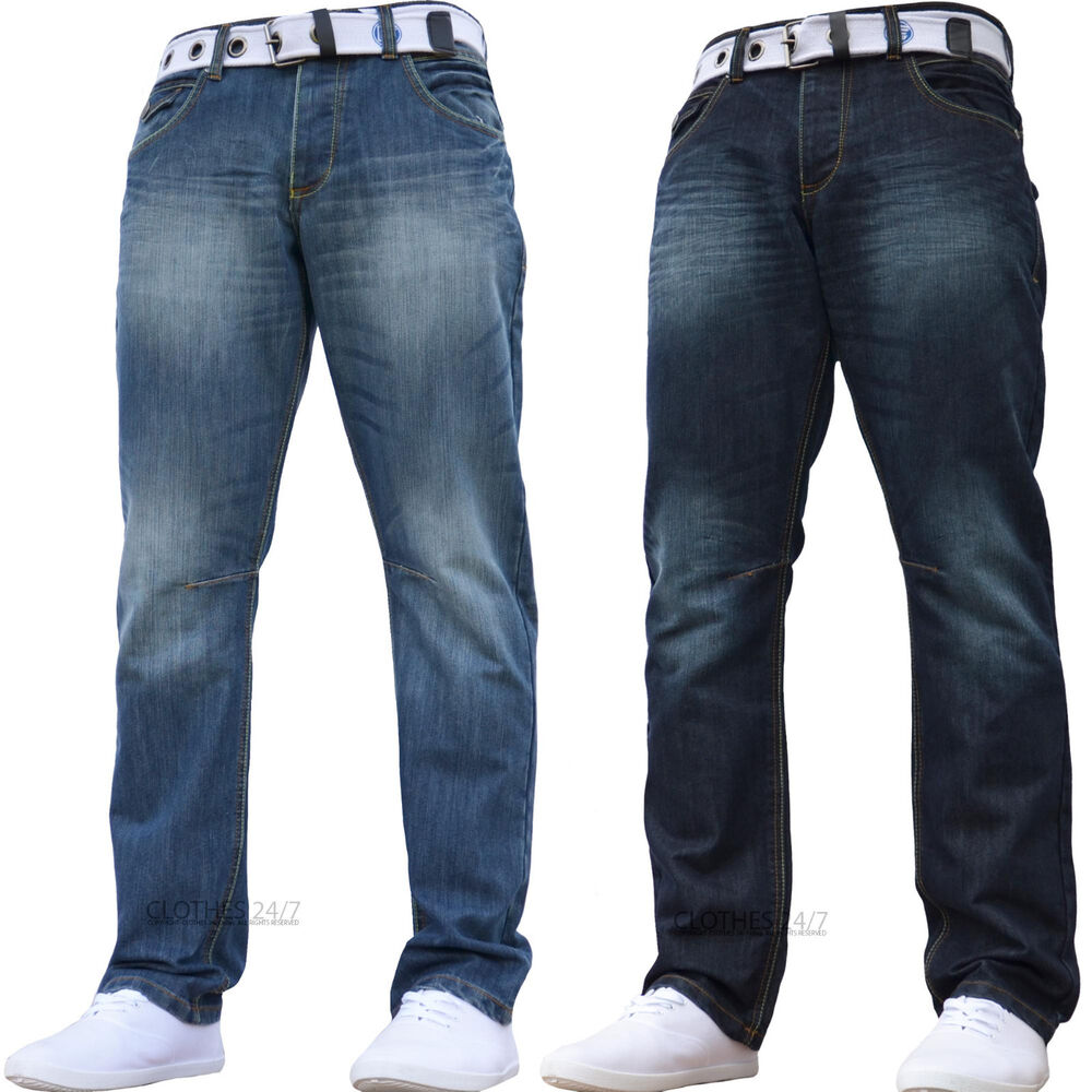new mens enzo designer jeans pants free belt waist sizes 30 32 34 36 38 40 42 ebay. Black Bedroom Furniture Sets. Home Design Ideas