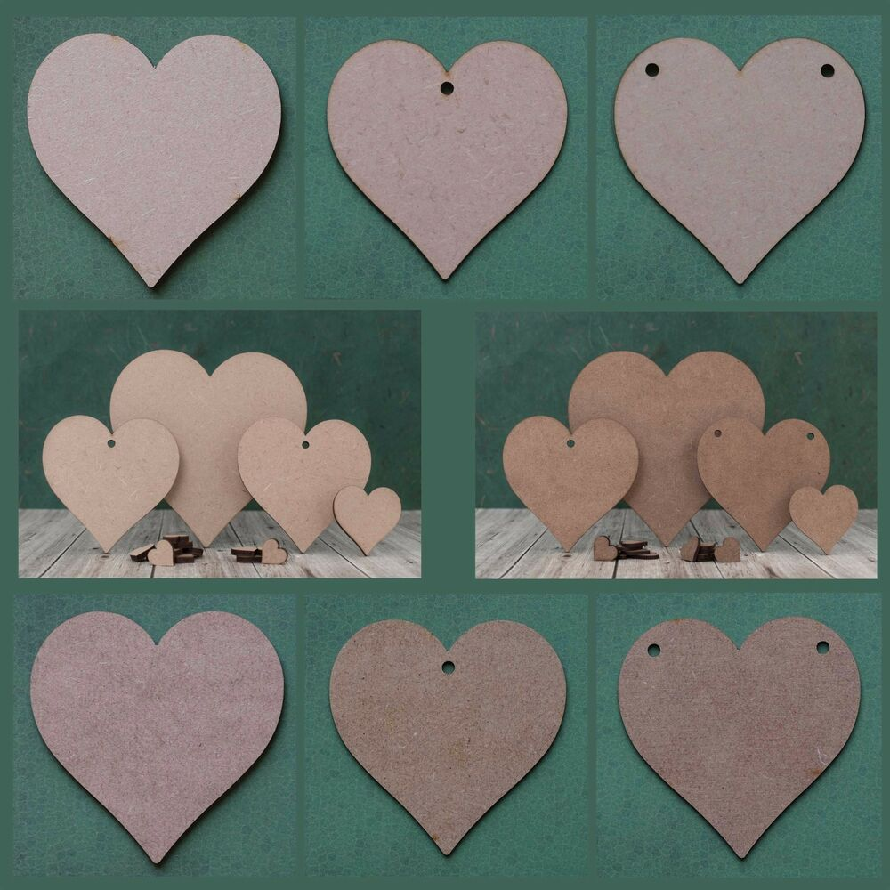 Wooden heart shape mdf blank cutout tag for craft bunting for Wooden hearts for crafts