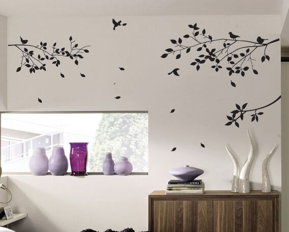 large tree branch and birds art wall vinyl stickers diy wall decor art decal ebay. Black Bedroom Furniture Sets. Home Design Ideas