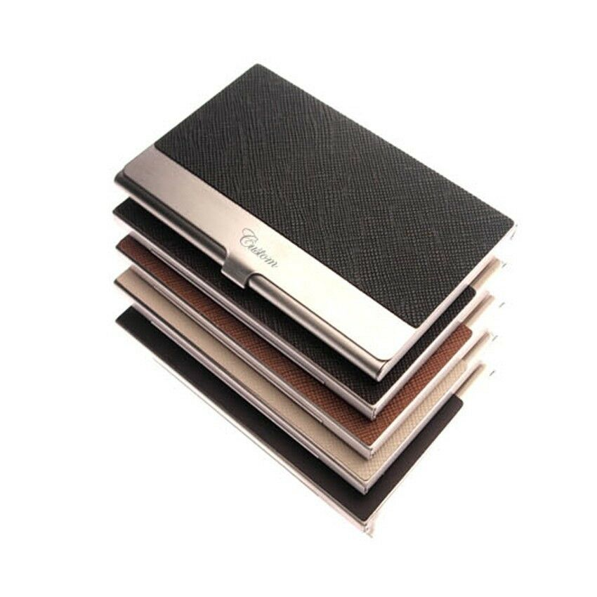 Business card holder personalized cowhide metal skin card for Personalized business card holder for men