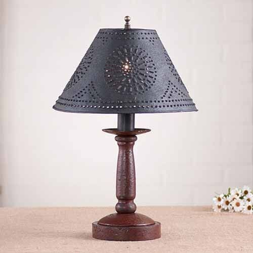 Butcher's Chamberstick Wooden Table Lamp w/ Shade ...