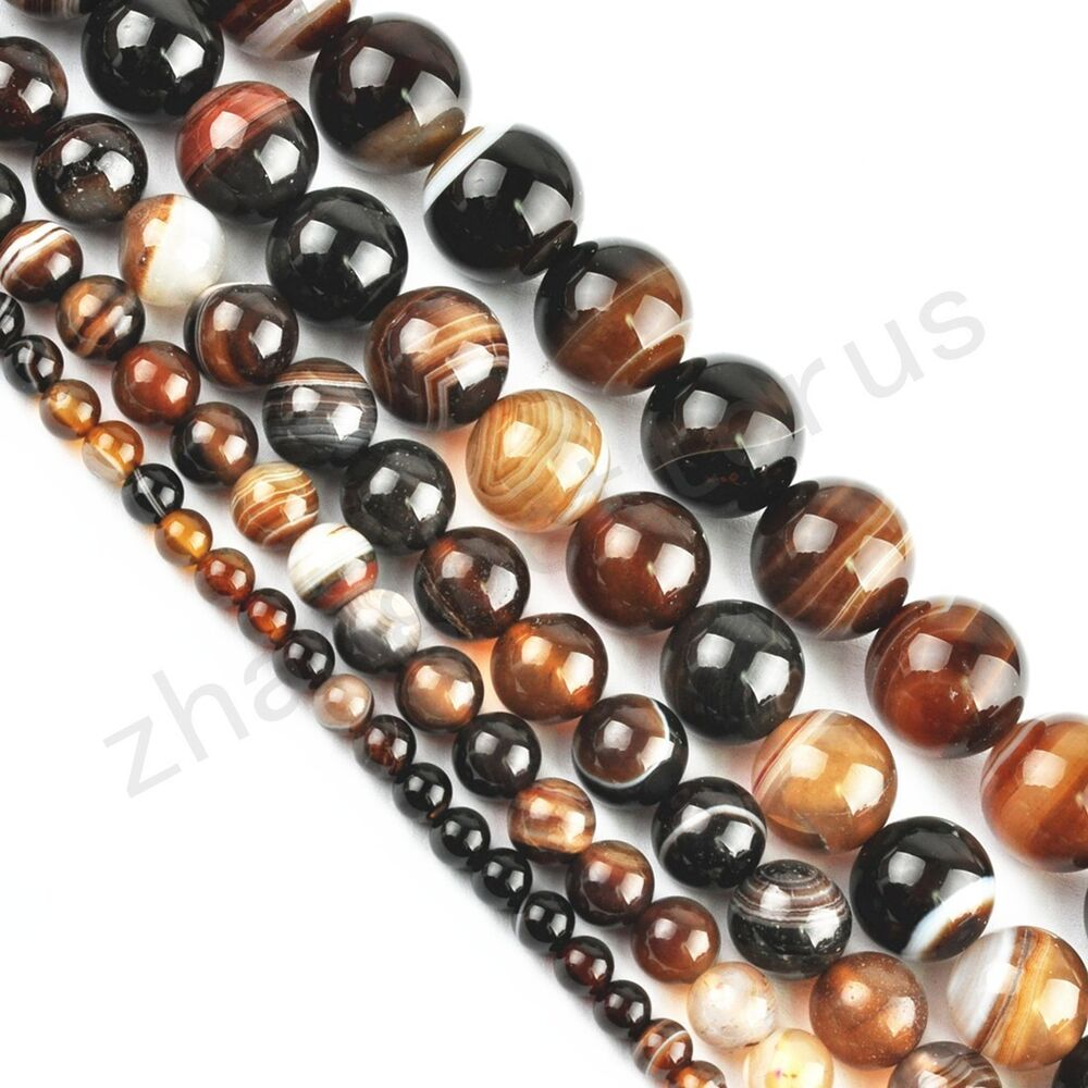 Natural Stone Beads : Natural brown agate gemstone round loose spacer beads