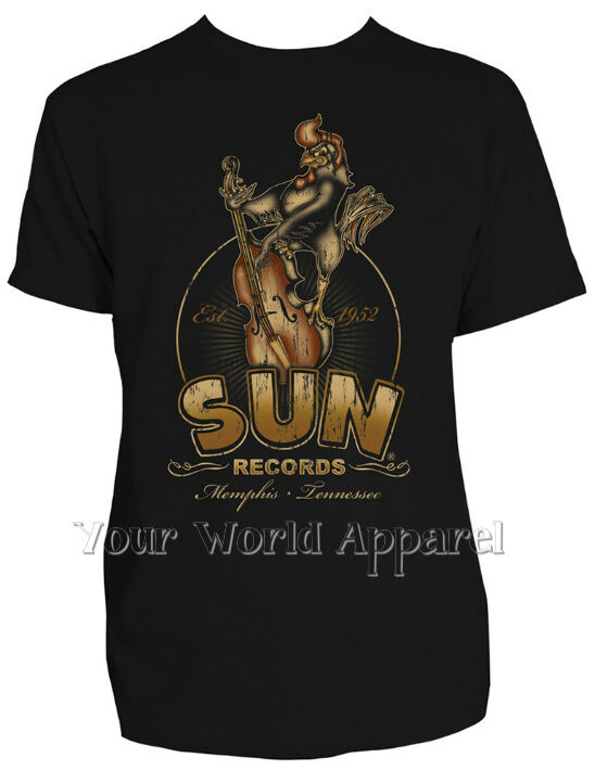 Sun records steady mens black roosterbilly tee shirt elvis for Vintage record company t shirts