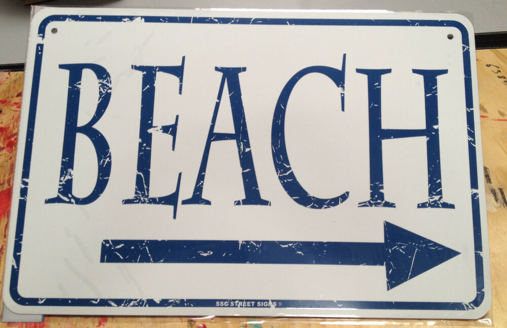 Beach metal marker sign new surf decor art aluminum for Outdoor decorative signs