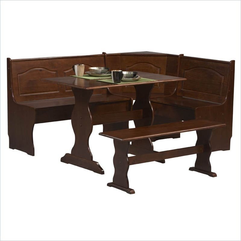 New kitchen nook corner dining breakfast table bench chair booth walnut ebay Dining table and bench set