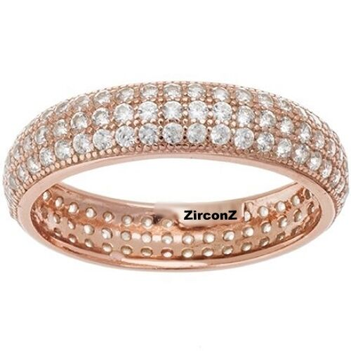 Dome Shaped Bands: NEW 14K ROSE GOLD VERMEIL Pave 3 Row Dome Shape Eternity