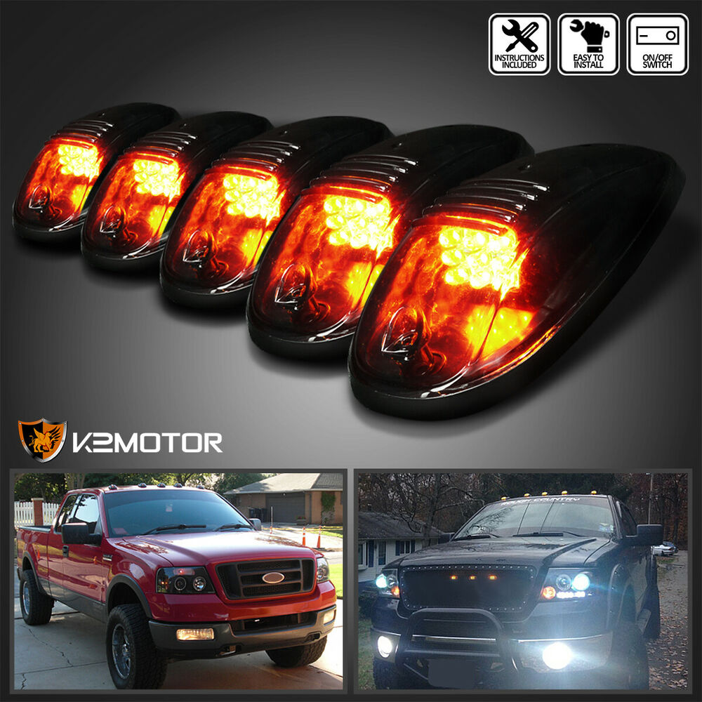 Smoked 5pcs Led Cab Roof Running Marker Lights Truck Suv