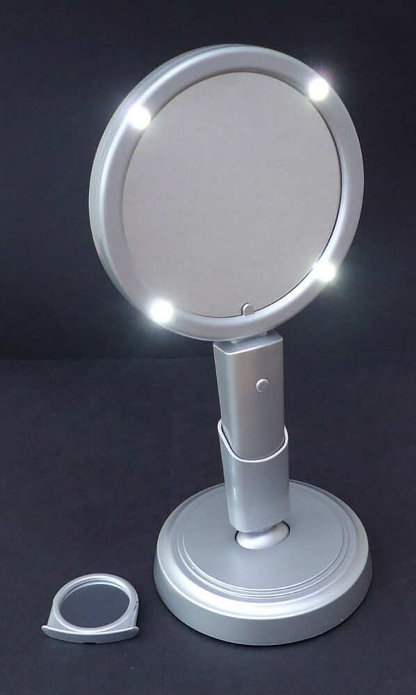 Vanity Mirror.LED lighted.Freestanding/Handheld+magnifying mirror.Batteries inc. eBay