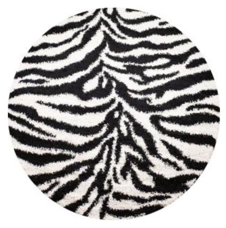 New Black And White Zebra Print 7 Round Animal Print Shag