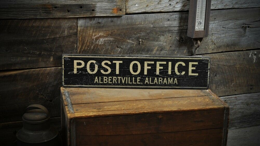 Custom Post Office City State Sign Rustic Hand Made