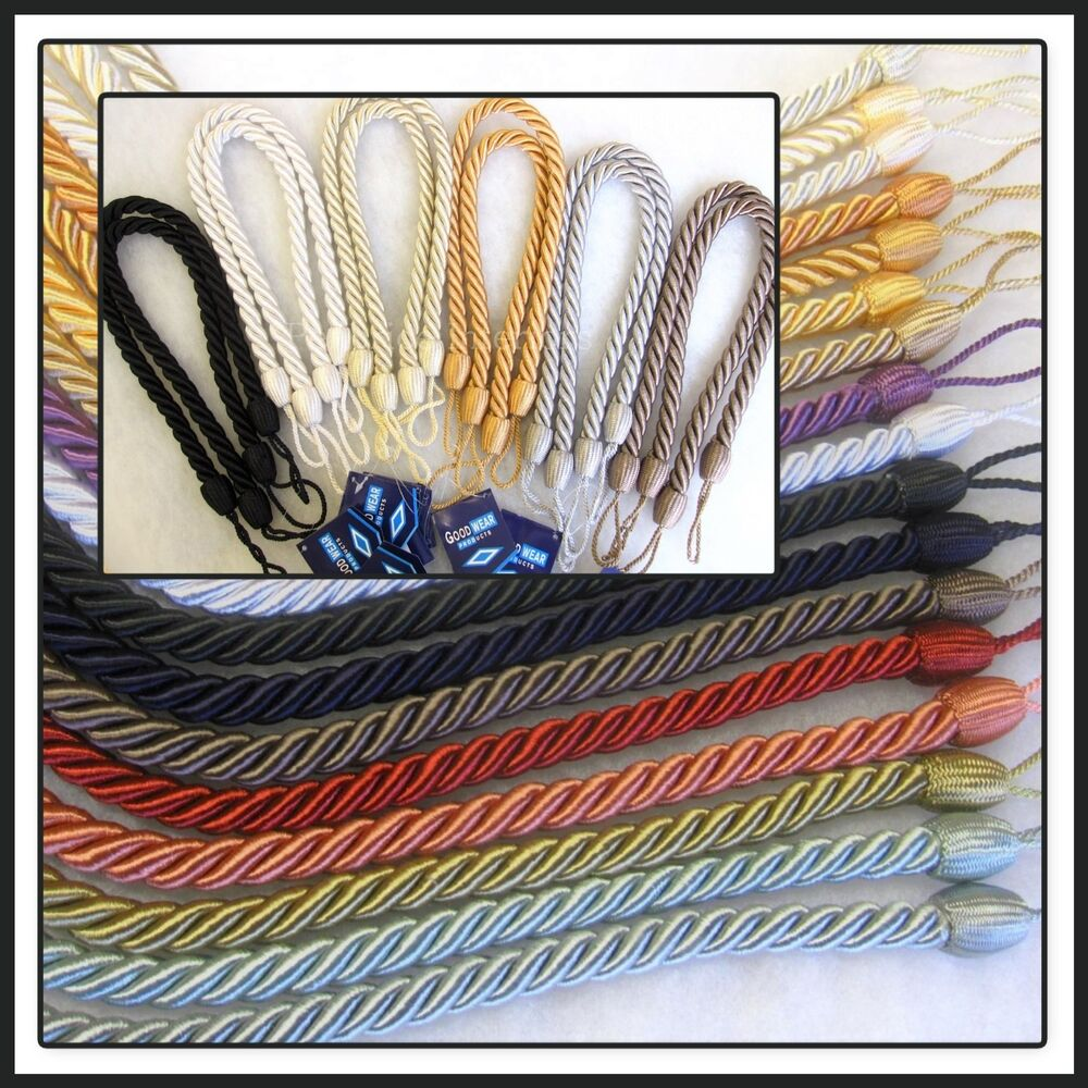 Drape Ties: 2 Slim Rope Curtain Tie Backs 65cm Slinky Twist Cable Cord