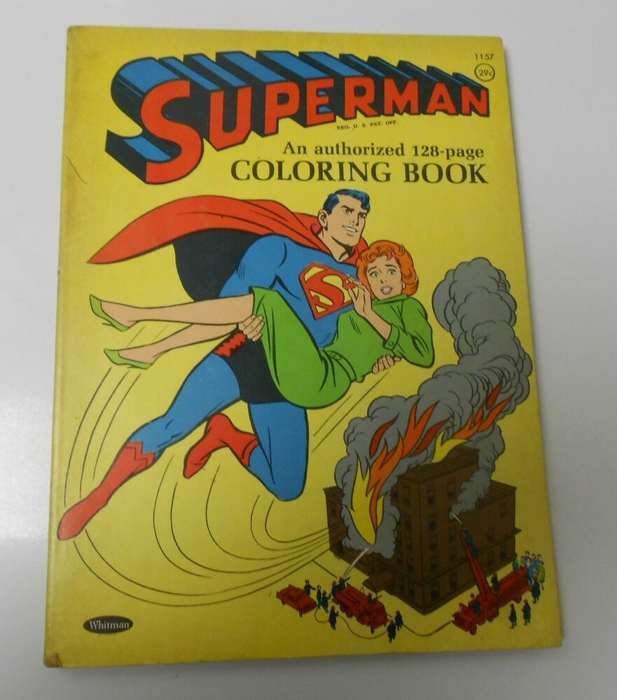 1964 SUPERMAN Coloring Book 1157 Whitman UNUSED Tan Pages
