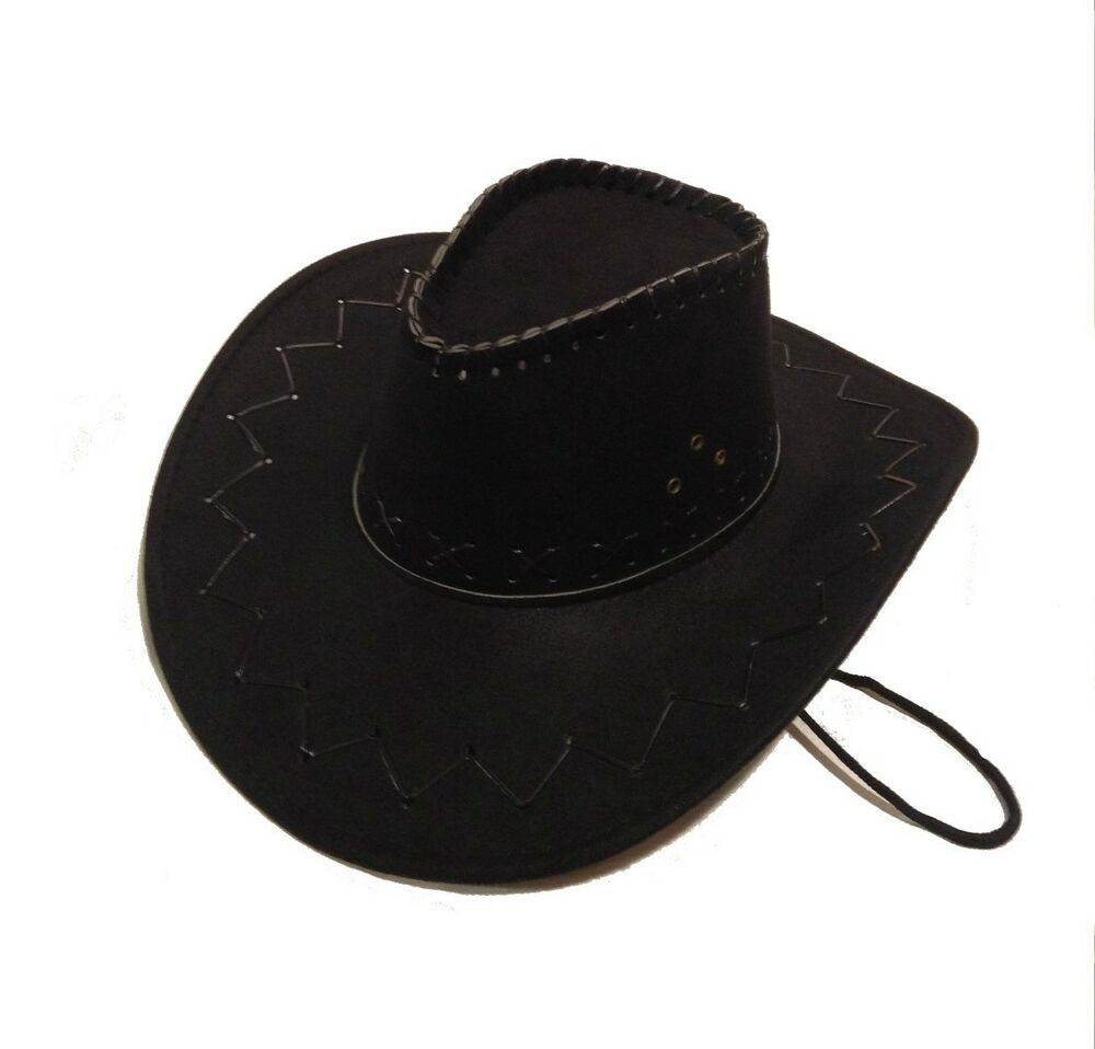size black cowboy hat western costume suede feel