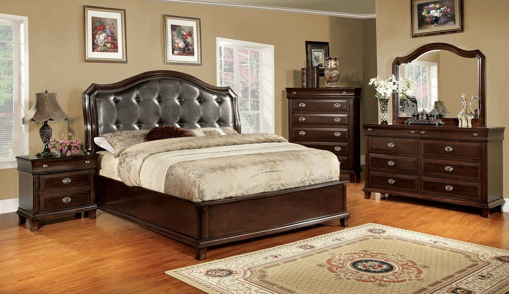 4pc Bedroom Set Queen King Bed Size Home Furniture Set