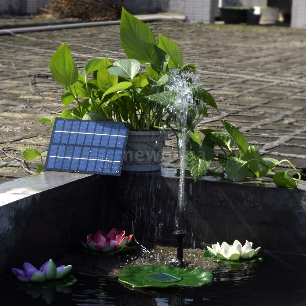 Solar Powered Submersible Water Pump Fountain Pond Outdoor Garden 1 8w Brushless Ebay