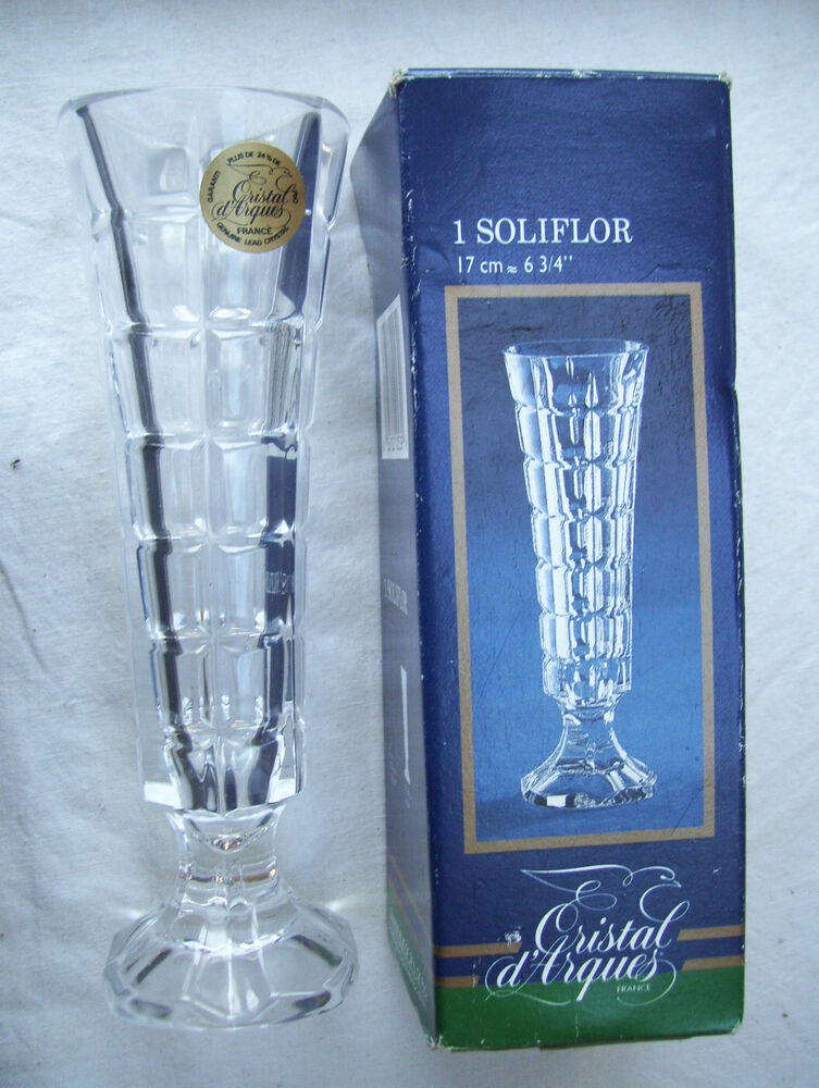 cristal d 39 arques soliflor vase mib ebay. Black Bedroom Furniture Sets. Home Design Ideas