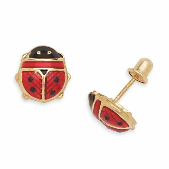 children s back earrings 14k yellow gold children s enamel ladybug back stud 7128