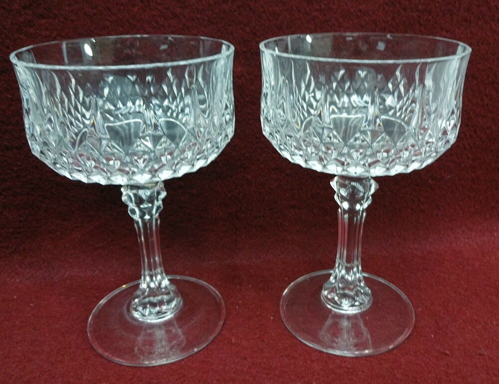 cristal d 39 arques durand crystal longchamp champagne tall sherbet set of 2 ebay. Black Bedroom Furniture Sets. Home Design Ideas