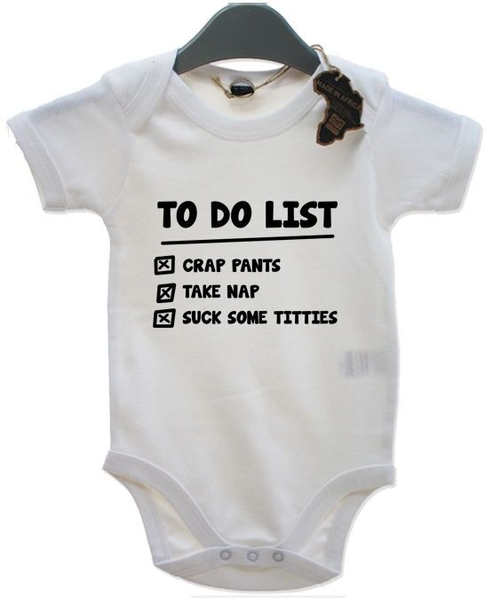 To Do List Babygrow Newborn Playsuit Gift Vest Funny Baby