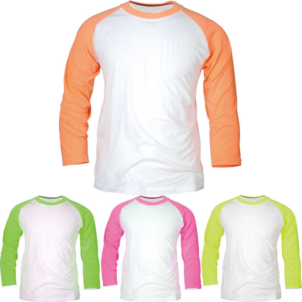 new 3 4 sleeve baseball raglan t shirt round crew neck tee jersey fluorescent ebay. Black Bedroom Furniture Sets. Home Design Ideas
