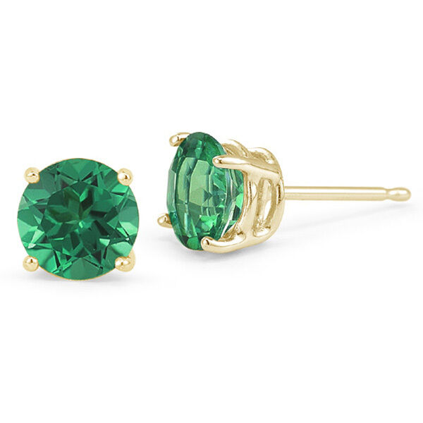 14k Solid Yellow Gold Green Emerald Round Shape Stud Push