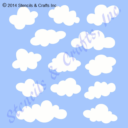 Cloud Stencil Many Shapes Clouds Stencils Template