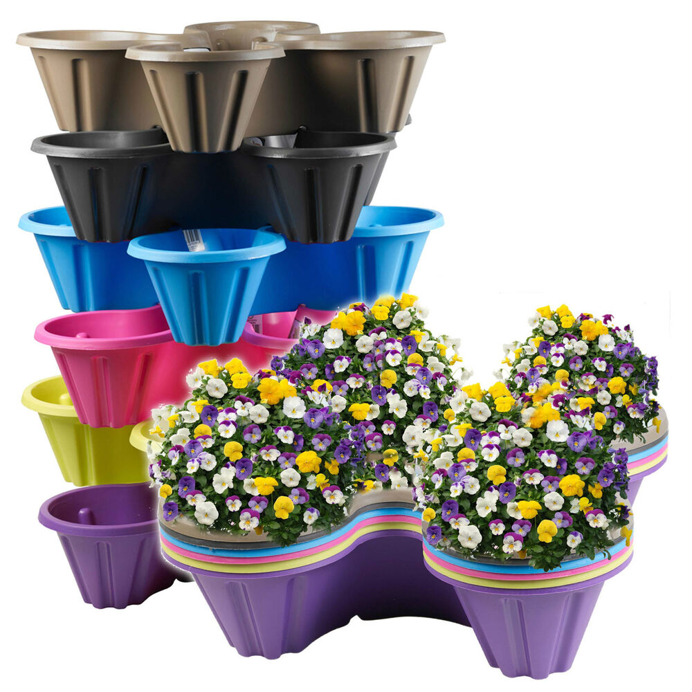 stackable plastic 4 plants flower pots pot holder strawberry herb planter garden ebay. Black Bedroom Furniture Sets. Home Design Ideas