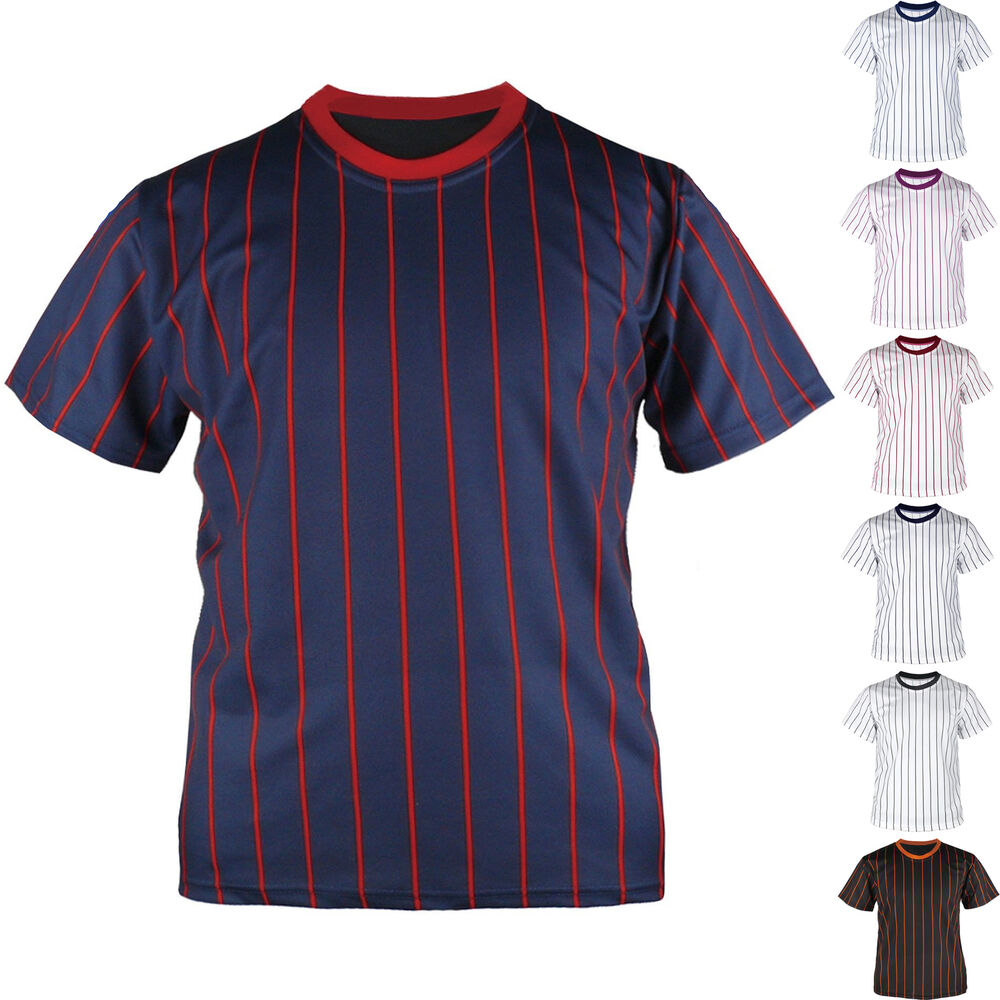 New Mens Baseball Team T shirts Jersey Blank Striped ...