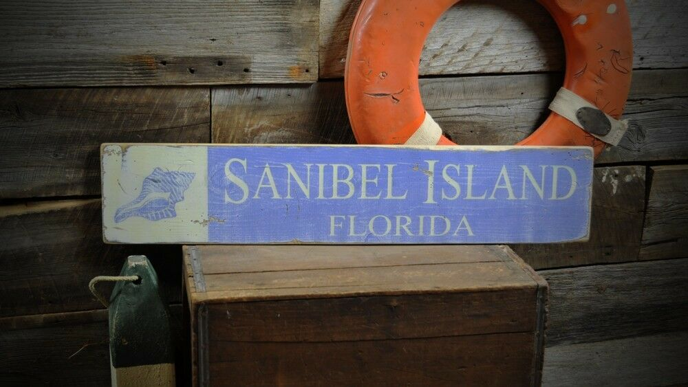 Custom Sanibel Island Beach Sign Rustic Hand Made Vintage Wooden