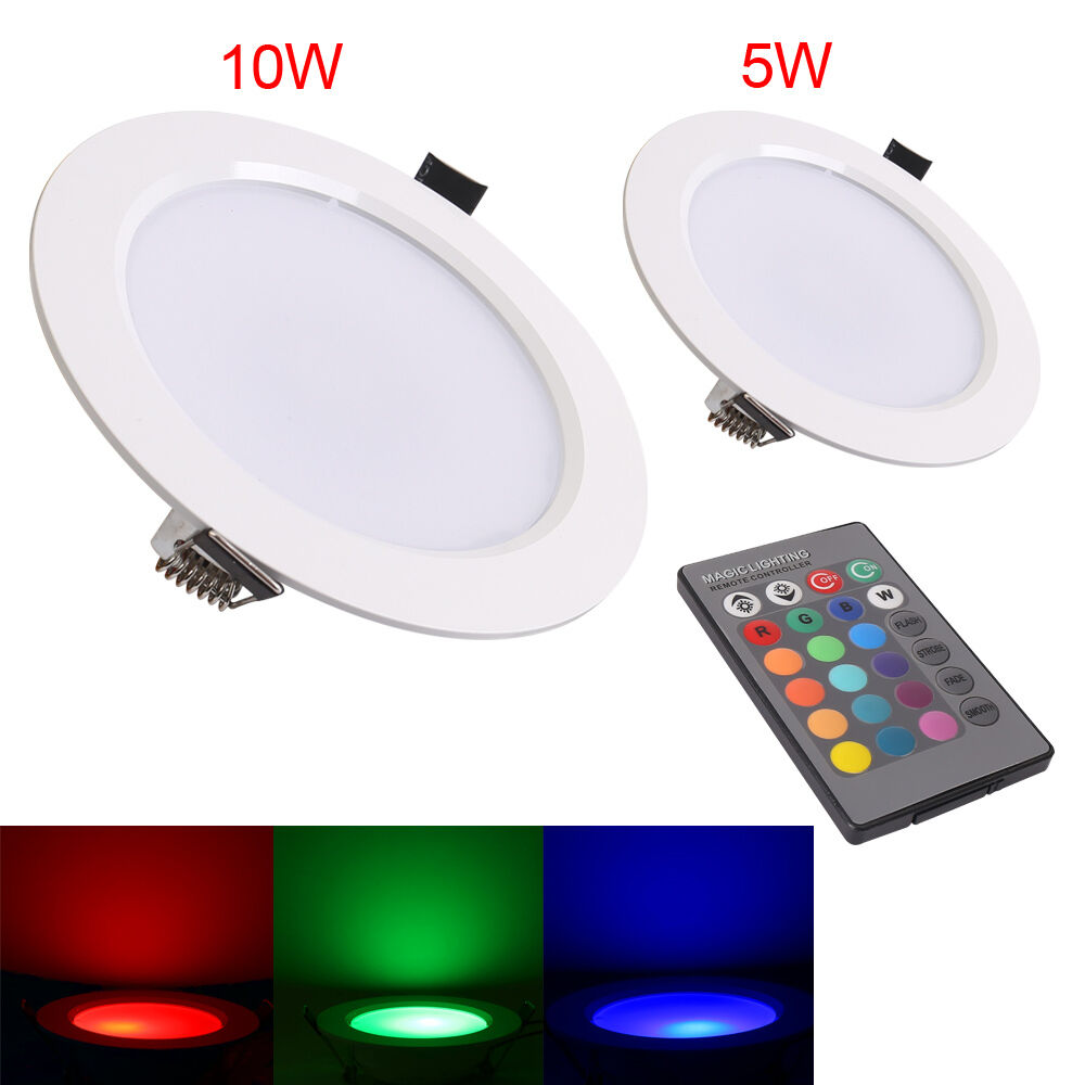 Recessed Ceiling Light Bulb Change : W downlight color changing rgb led recessed ceiling
