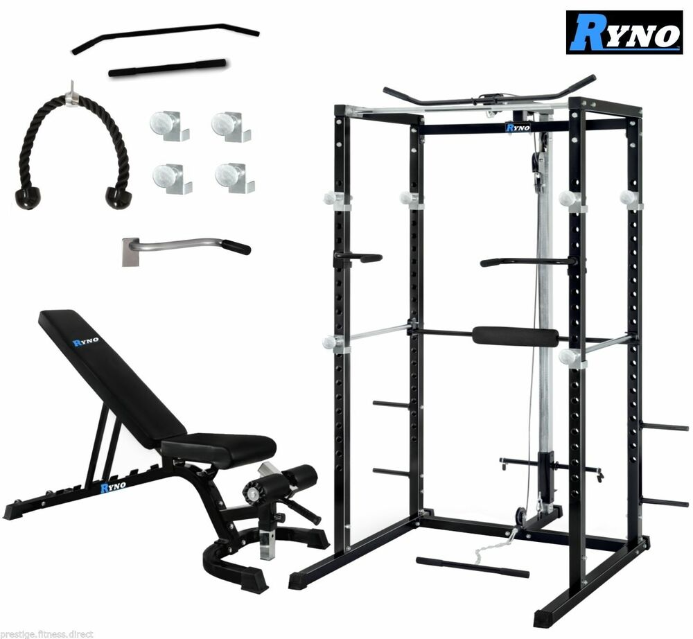 Ryno Ultimate Power Rack Cage With Weight Bench Combo Deal Squat Rack Pull Up Ebay