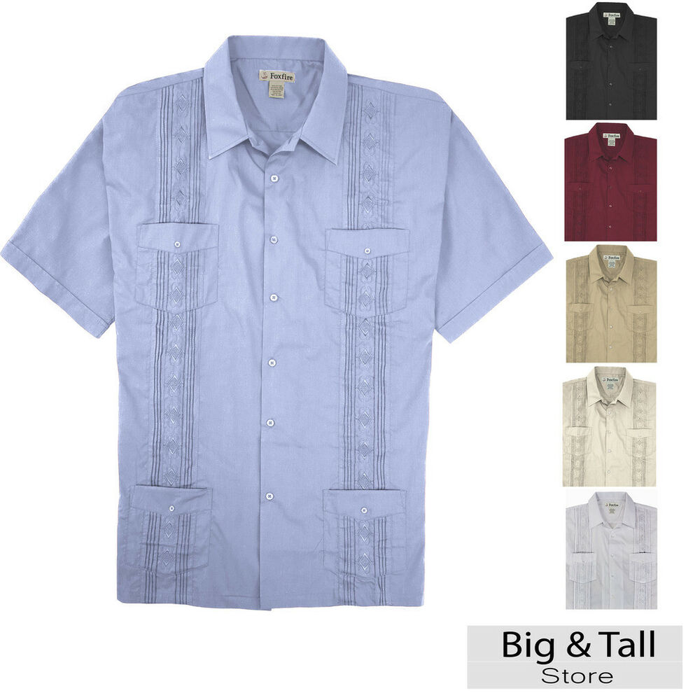 Big and tall men 39 s guayabera short sleeve shirt 2xl 8xl for Tall mens dress shirts