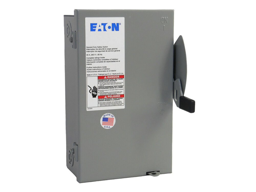 30 amp 3 phase non fused disconnect switch eaton cutler. Black Bedroom Furniture Sets. Home Design Ideas